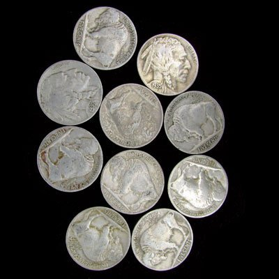 808: 10 Misc. U.S. Buffalo Type Nickel Coin-Investment