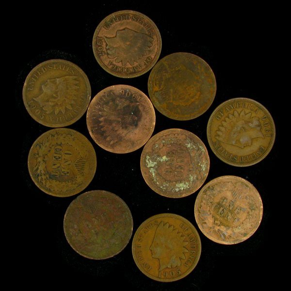 1820: 10 Misc. U.S. Indian Head Type One Cent Coin-Inve