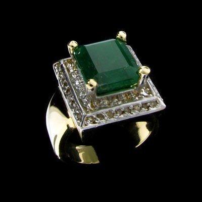 1822: APP: 12k 14 kt. Y/W Gold, 3.70CT Emerald and Diam