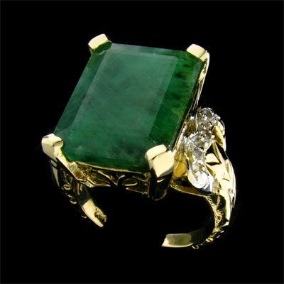 1830: APP: 11k 14 kt. Y/W Gold, 10.12CT Emerald and Dia