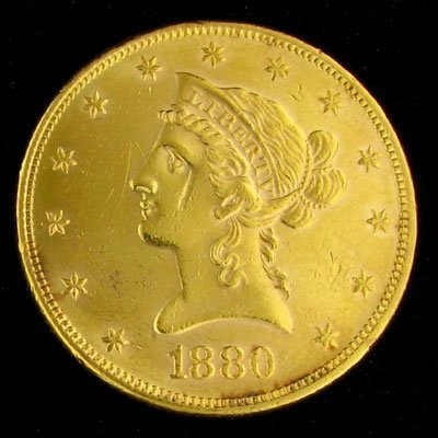 1836: 1880 $10 U.S. Liberty Head Type Gold Coin-Investm