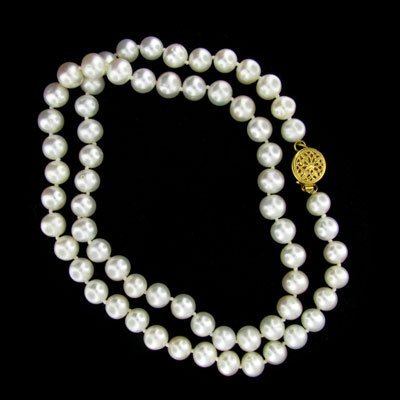 1844: 14 kt. Gold, Pearl Necklace-Great Gift Idea