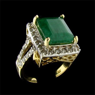 1846: APP: 11.8k 14 kt. Y/W Gold, 4.90CT Emerald and Di