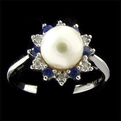7: 14 kt. White Gold, 6mm Pearl 0.25CT Sapphire and Dia