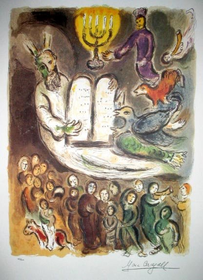 25: MARC CHAGALL Exodus Tablet Print-Limited Edition