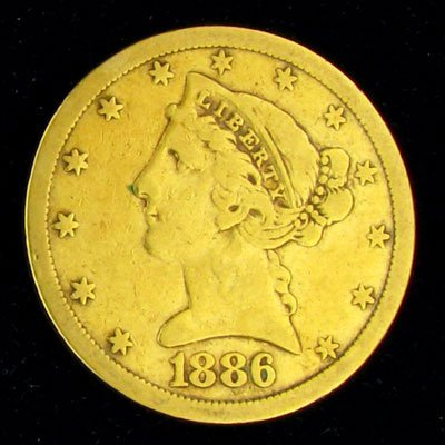 29: 1886-S $5 US Liberty Head Type Gold Coin-Investment