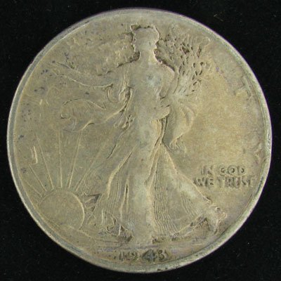 37: 1943 U.S. Walking Liberty Half Dollar Coin-Investme