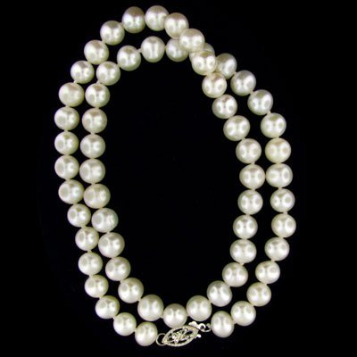 39: 16'' Pearl Necklace-Single Strand - Great Gift Idea