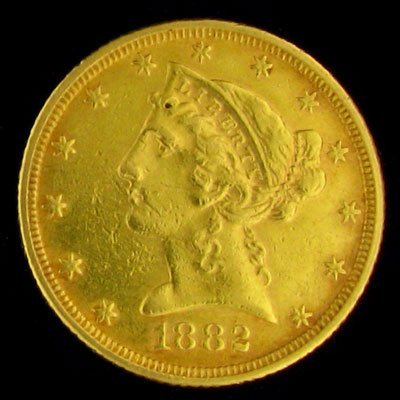 45: 1882 $5 US Liberty Head Type Gold Coin-Investment P