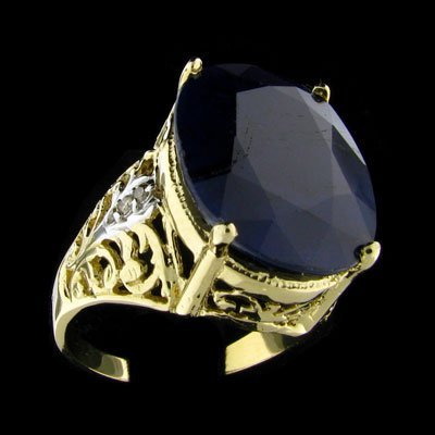 159: APP: 12.5k 14 kt. Gold, 13.80CT Sapphire and Diamo