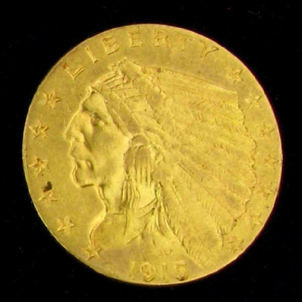 1416: 1915 $2.5 U.S Indian Head Type Gold Coin-Investme