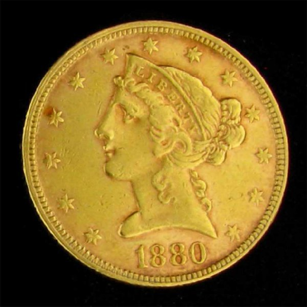 1434: 1880 $5 U.S Liberty Head Type Gold Coin-Investmen