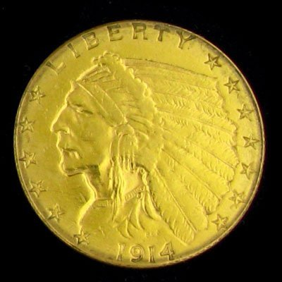 2712: 1914 $2.5 U.S. Indian Head Type Gold Coin-Investm