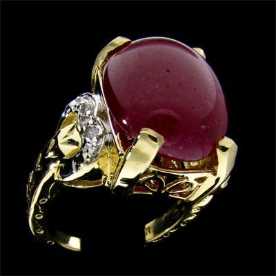2716: APP: 16.3k 14 kt. Gold, 15.20CT Ruby and 0.06CT D