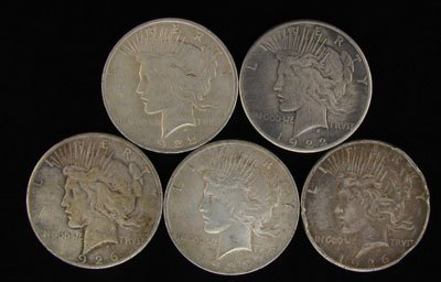 2720: 5 Assorted Peace Type Silver Dollar Coin-Investme