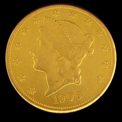 2732: 1906-S $20 US Liberty Head Type Gold Coin-Investm