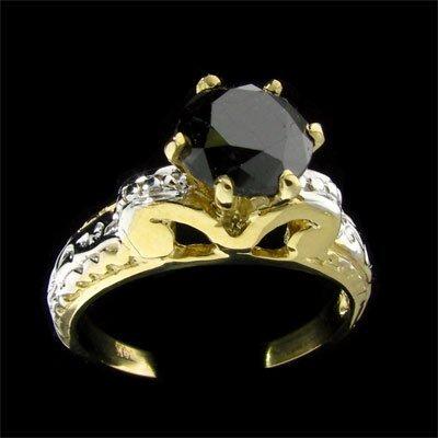 1010: APP: 3.6k 14 kt. Y/W Gold, 2.11CT Rare Black Diam