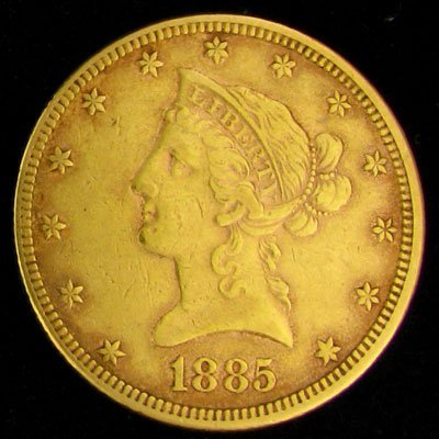 1014: 1885 $10 U.S. Liberty Head Type Gold Coin-Investm
