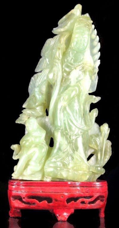 1024: Rare Hand Carved Jade Sculpture-Translucent Green