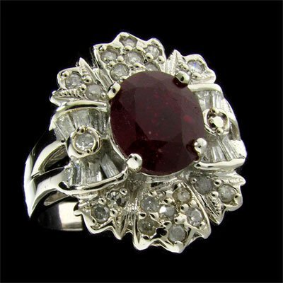 1026: APP: 8.5k 14 kt. White Gold, 2.38CT Ruby and Diam