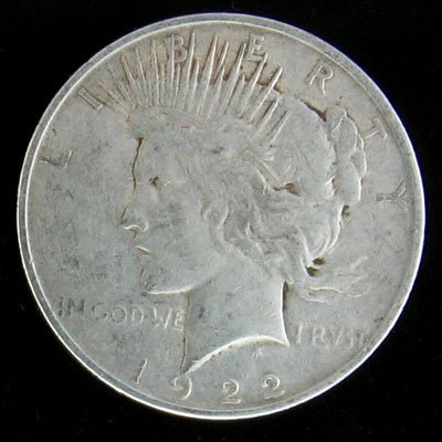 1038: 1922-D Peace Type Silver Dollar Coin-Investment P