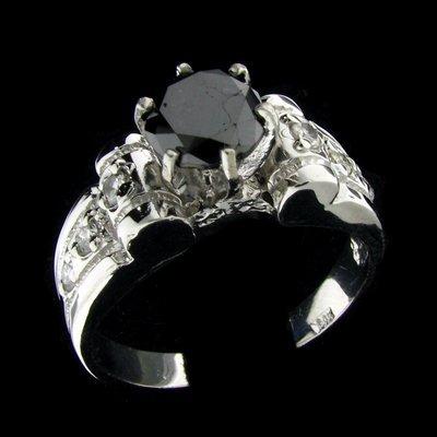 1046: 14 kt. White Gold, 1.30CT Rare Black Diamond and
