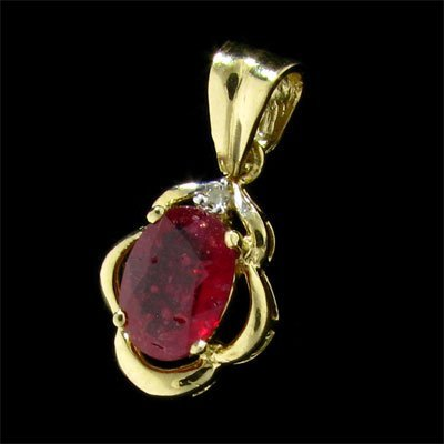 3024: 14 kt. Gold, Ruby and Diamond Pendant