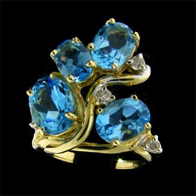 3040: APP: 4.2k 14 kt. Gold, 5.97CT Blue Topaz and Diam