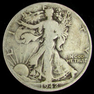 3046: 1942-D U.S. Walking Liberty Half Dollar Coin-Inve