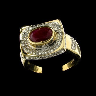 3001: APP: 5.1k 14 kt. Gold, 0.82CT Ruby and 0.35CT Dia