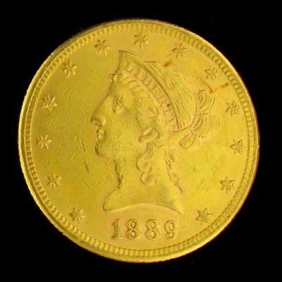 3003: 1889-S $10 US Liberty Head Type Gold Coin-Investm