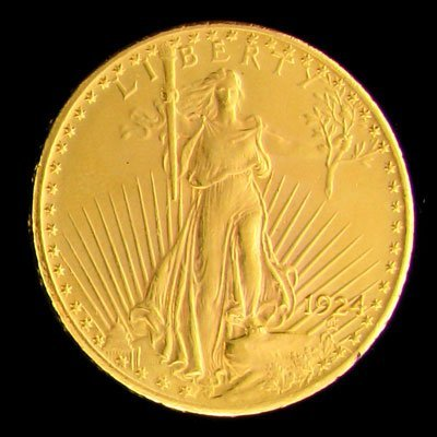 3027: 1924 $20 US Saint-Gaudens Gold Coin-Investment Po