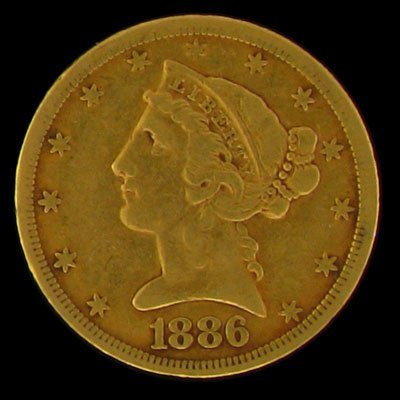 7: 1886-S $5 U.S. Liberty Head Type Gold Coin-Investmen