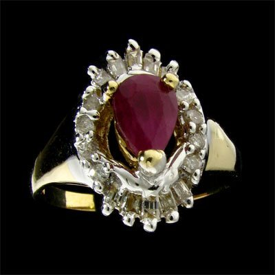 17: APP: 3.6k 14 kt. Gold, 1.17CT Ruby and Diamond Ring