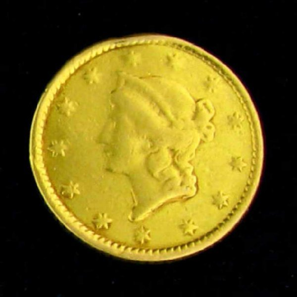 7: 1853 $1 U.S. Liberty Head Type Gold Coin-Investment
