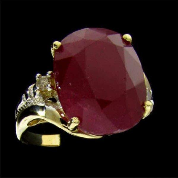 27: APP: 25.4k 14 kt. Gold, 12.74CT Ruby and Diamond Ri