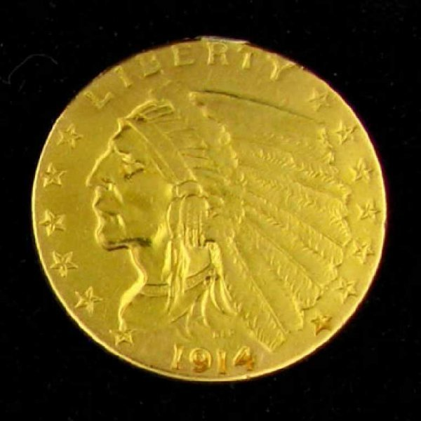 35: 1914 $2.5 U.S. Indian Head Type Gold Coin-Investmen
