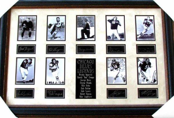 45: Rare Chicago Bears Legends Collage Facsimile Autogr