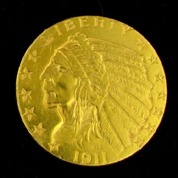 351: 1911 $5 U.S. Indian Head Type Gold Coin-Investment