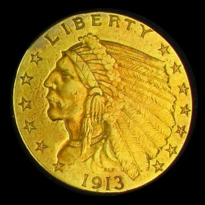 9: 1913 $2.5 U.S. Indian Head Type Gold Coin-Investment