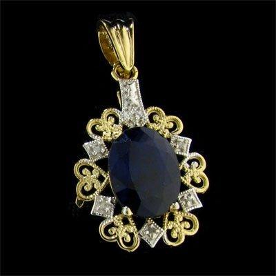 25: APP: 3.5k 14 kt. Gold, 6.35CT Sapphire and Diamond