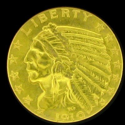 41: 1910 $5 U.S. Indian Head Type Gold Coin-Investment