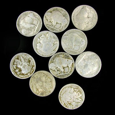 25: 10 Misc. U.S. Buffalo Type Nickel Coin-Investment P