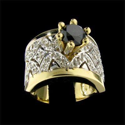 29: APP: 4k 14 kt. Gold, 0.70CT Rare Black Diamond and