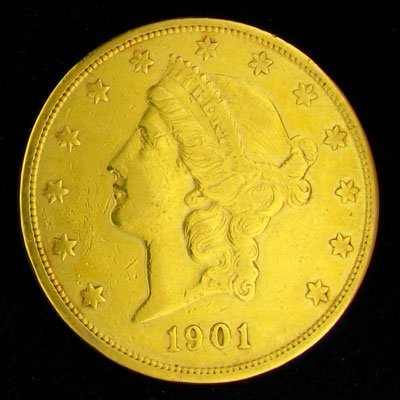 47: 1901-S $20 US Liberty Head Type Gold Coin-Investmen