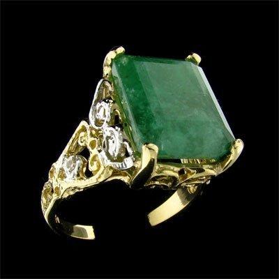 101: APP: 9.6k 14 kt. Y/W Gold, 8.80CT Emerald and Diam