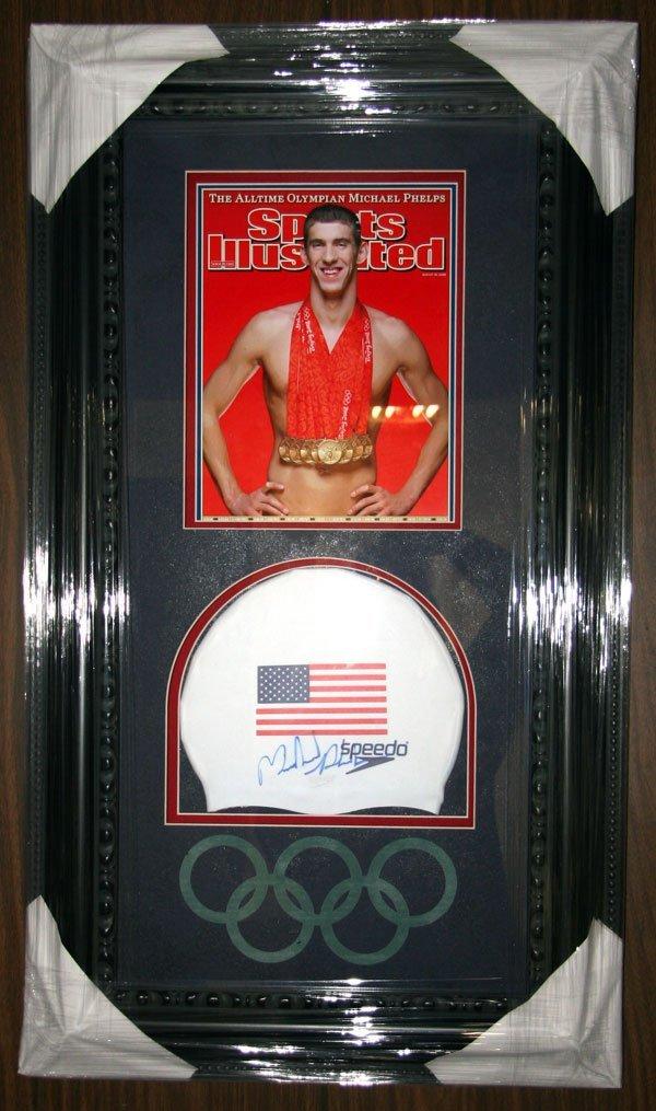 9: Michael Phelps Signed Swim Cap - Collage-Authentic S