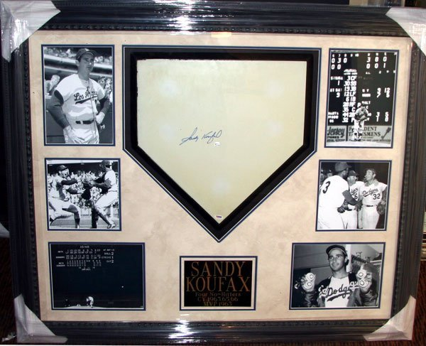 29: Sandy Koufax Signed Home Plate - Collage-Authentic