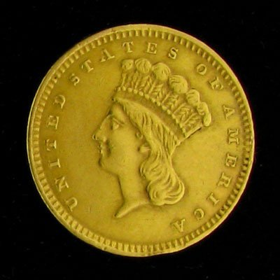 33: 1857 $1 U.S. Indian Head Type Gold Coin-Investment