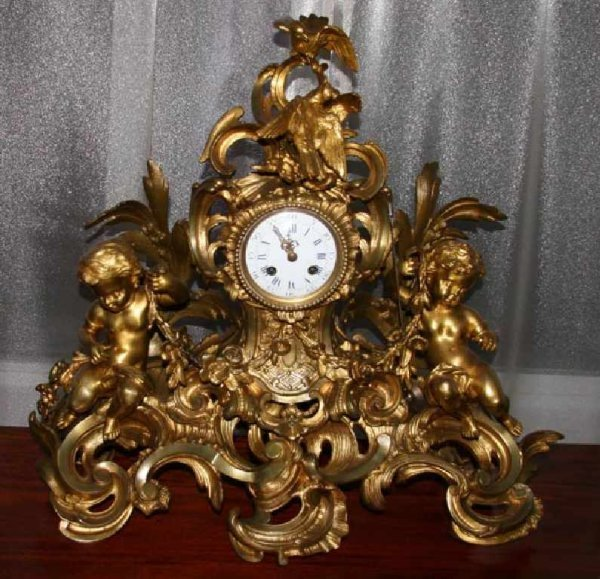 57: 1900's French Bronze Clock-Mint Condition
